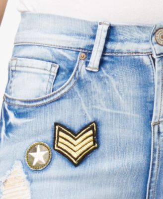 Indigo Rein Juniors' Patch Ripped Skinny Jeans - Blue 13