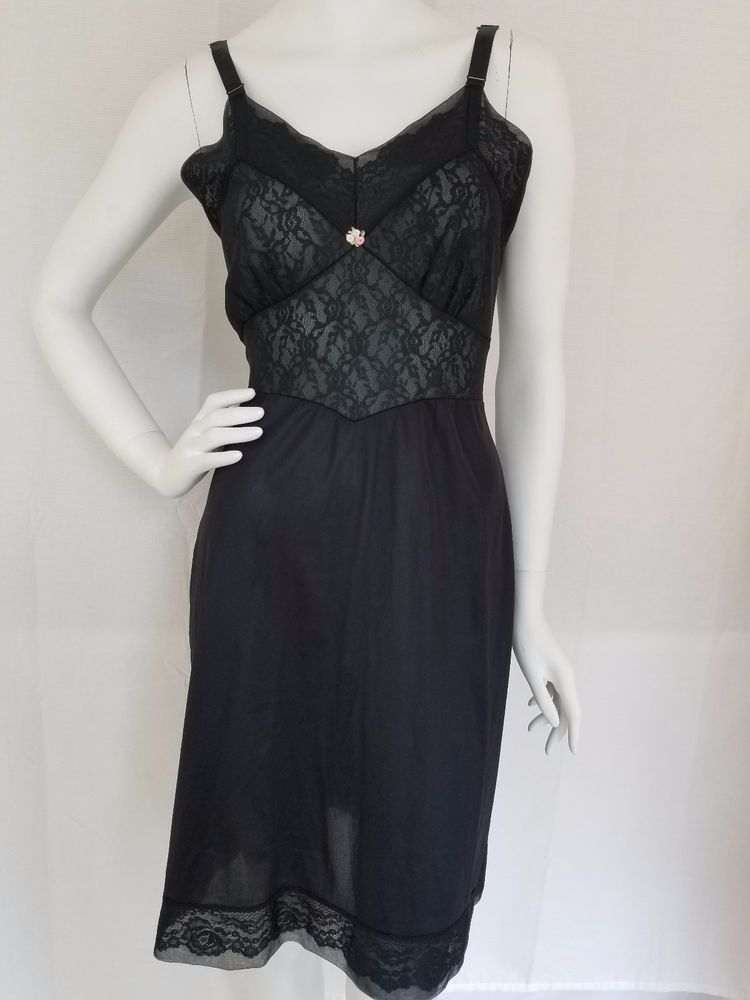 2cdc3584b Vintage Black Nylon Full Slip Chiffon Over Lace Sheer Bust Wide Straps Sz  32  Unbranded  Slip