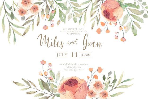 Invitacion De Boda Con Flores De Acuarela Listas Para Imprimir
