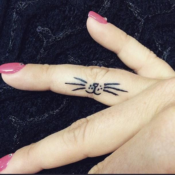 Cute Cat Whiskers On Finger It S A Good Idea For The First Tattoo Color Black Tags First Cute Cute Cat Tattoo Cat Tattoo Small Tattoos For Lovers