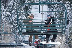 Some happy faces going up the lift!  #skiing #sundance #liftride