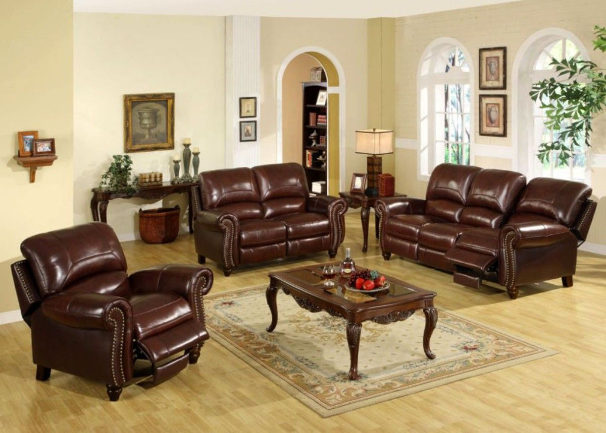 Leather Living Room Sets With Brown Sofa And Table Lamp
