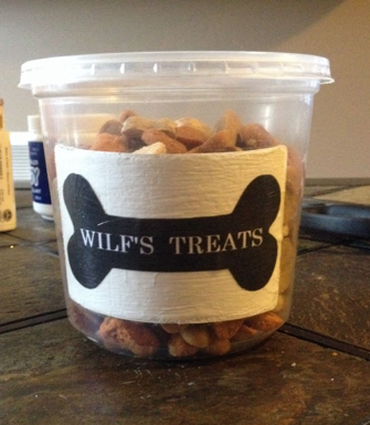 I took a reusable plastic container and painted over the nutritional label that was already on there. Then I found a bone clip art and added text in it, printed it and glued it on the container with podgy, and voila! Customized treat container.