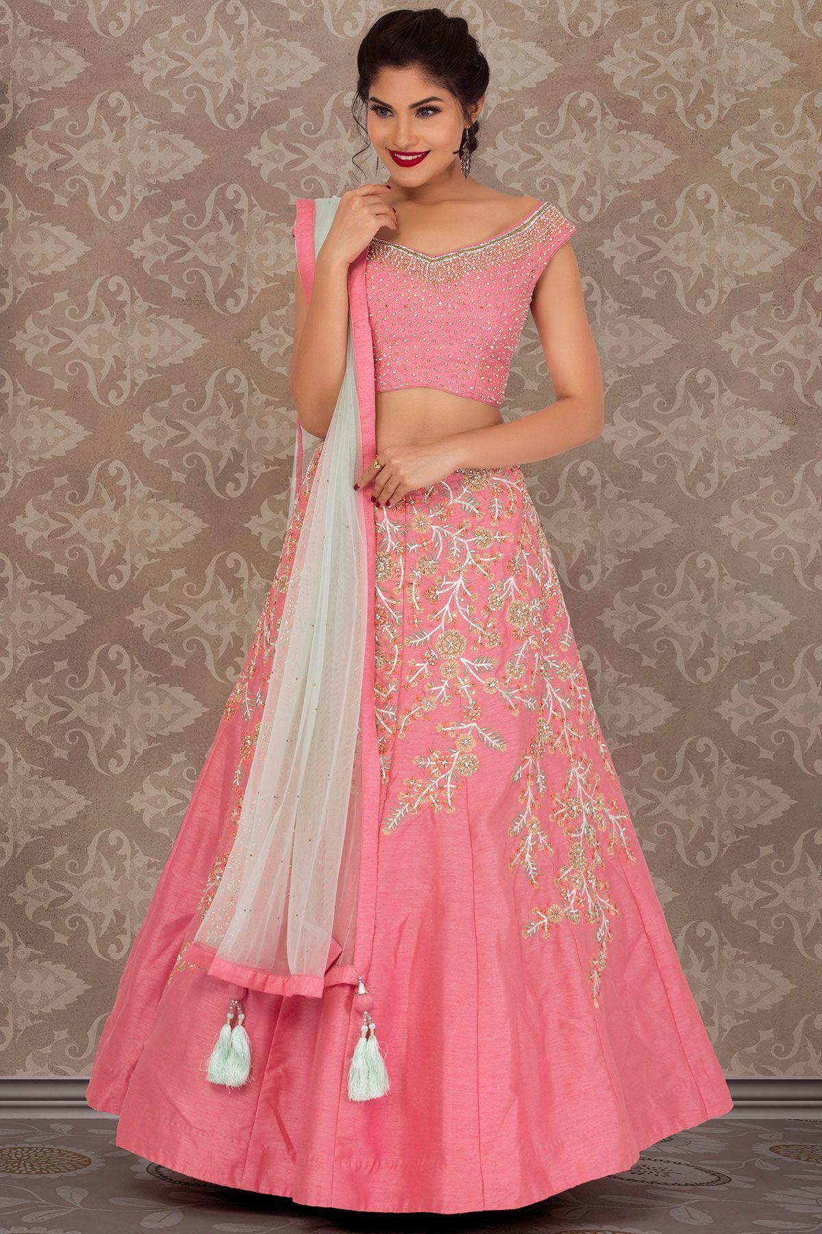 e5175a07bd Buy Light Pink Raw Silk Stone Embroidered Bridesmaid Lehenga Online ...