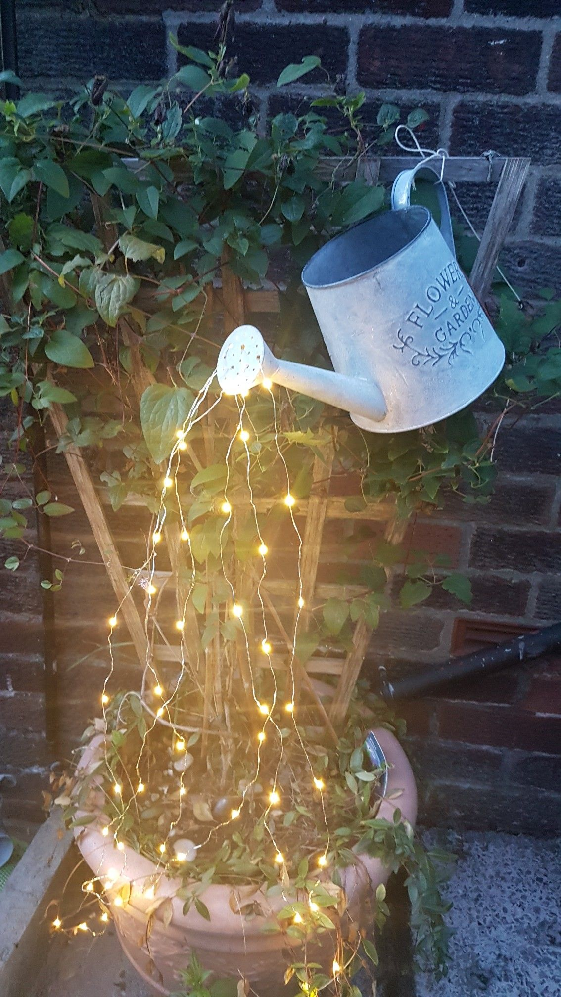 Watering Can Fairy Lights Craft Project So Pleased With How It Turned Out Fairy Lights Garden Fairy Garden Designs Glow Water