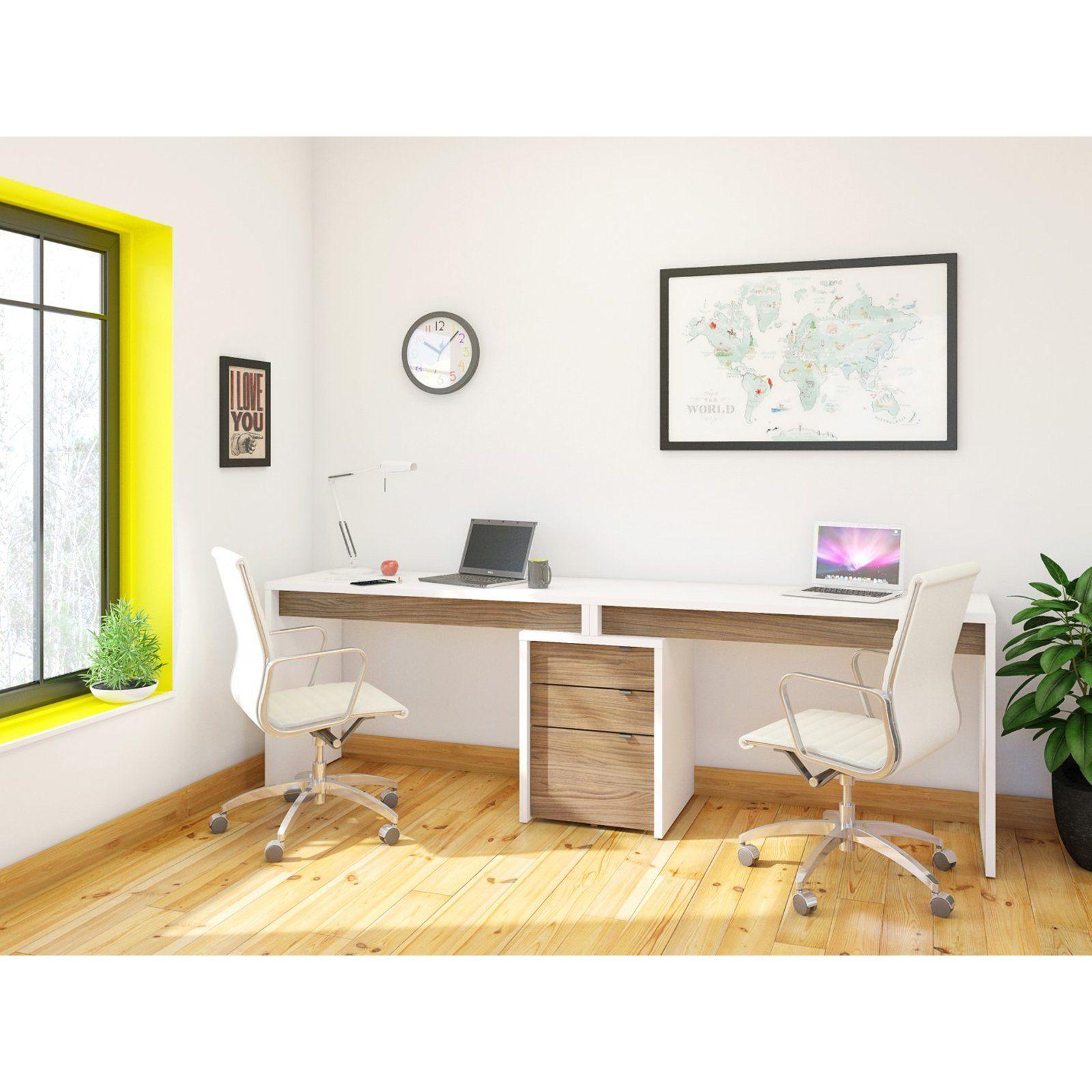 Nexera Liber T 2 Person Desk With Filing Cabinet White And Espresso Cheap Office Furniture Home Office Desks Home Office Design