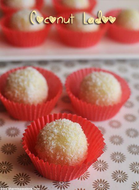 Coconut Ladoo Recipe Coconut Laddu With Condensed Milk Sharmis Passions Condensed Milk Recipes Coconut Ladoo Recipe Jamun Recipe