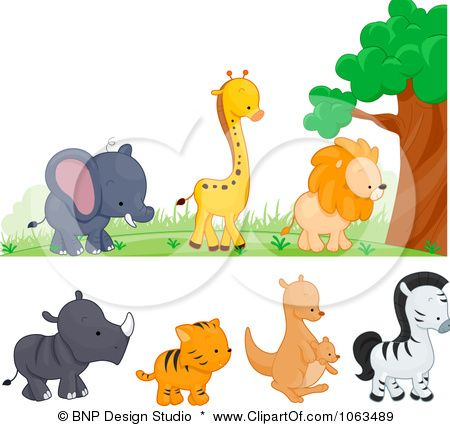 Clipart Wild Animal Borders Digital Collage Royalty Free Vector Illustration By Bnp Design Studio Free Vector Illustration Illustration Animal Illustration