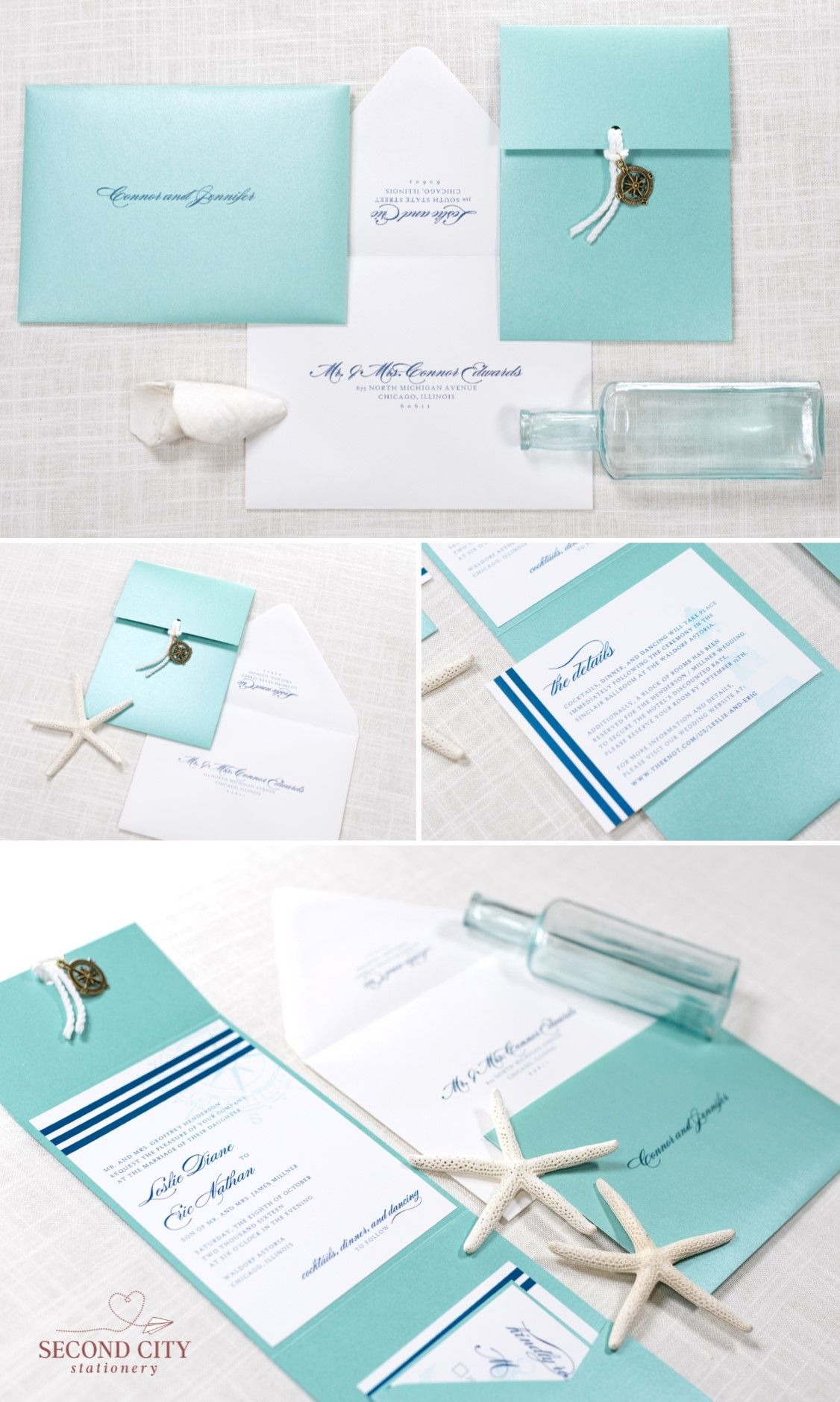 Nautical Compass Charm and Rope Pocketfold Wedding Invitation in ...