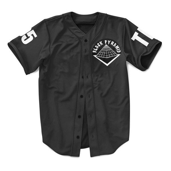 dccb70140e6 Black Pyramid 'The Home Run' T-Shirt Baseball Jersey ❤ liked on Polyvore  featuring tops, t-shirts, jerseys, shirts, baseball t shirt, jersey t shirts,  ...