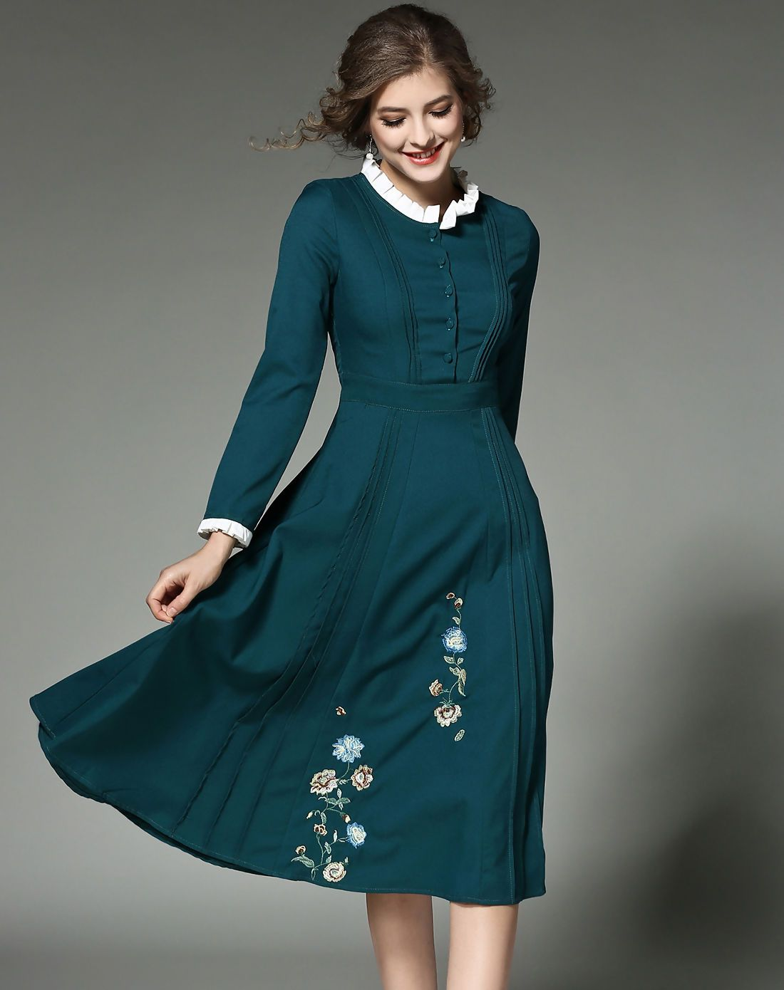 VIPme Cyan Stand Collar Floral Embroidered A Line Midi Dress ❤ Get ...