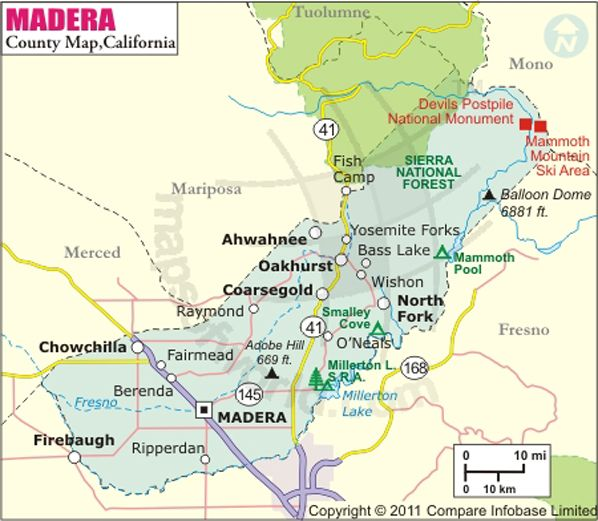 Madera County Map Yosemite Map California Map County Map