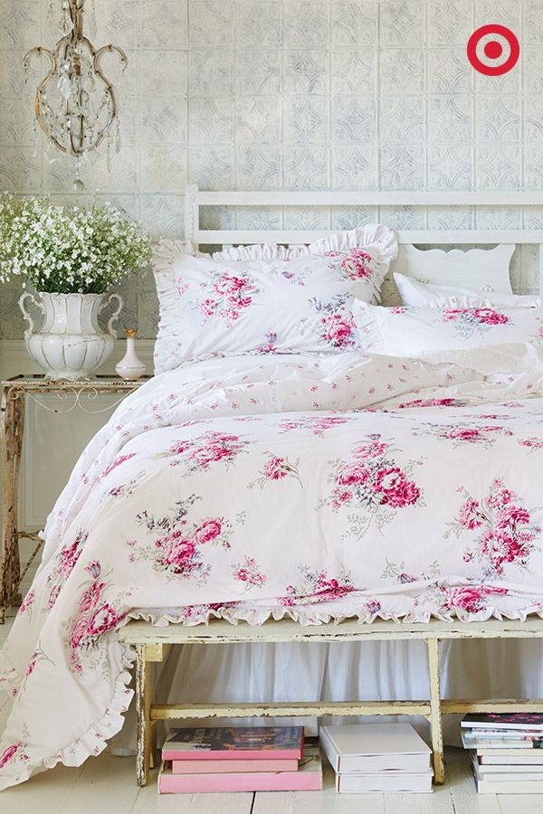 This Rose Bedding Set From Simply Shabby Chic Will Have You Dreaming Of Fragrant Flower Gardens The Elegant Shabby Chic Room Shabby Chic Bedding Chic Bedding