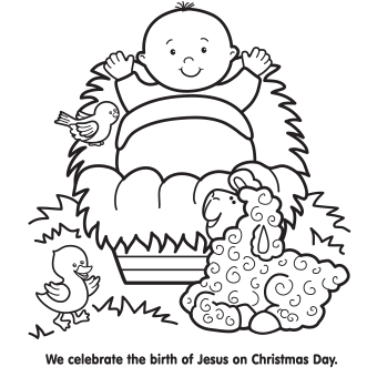 Baby Jesus In A Manger Coloring Page Christmas Coloring Pages Jesus Coloring Pages Free Christmas Coloring Pages