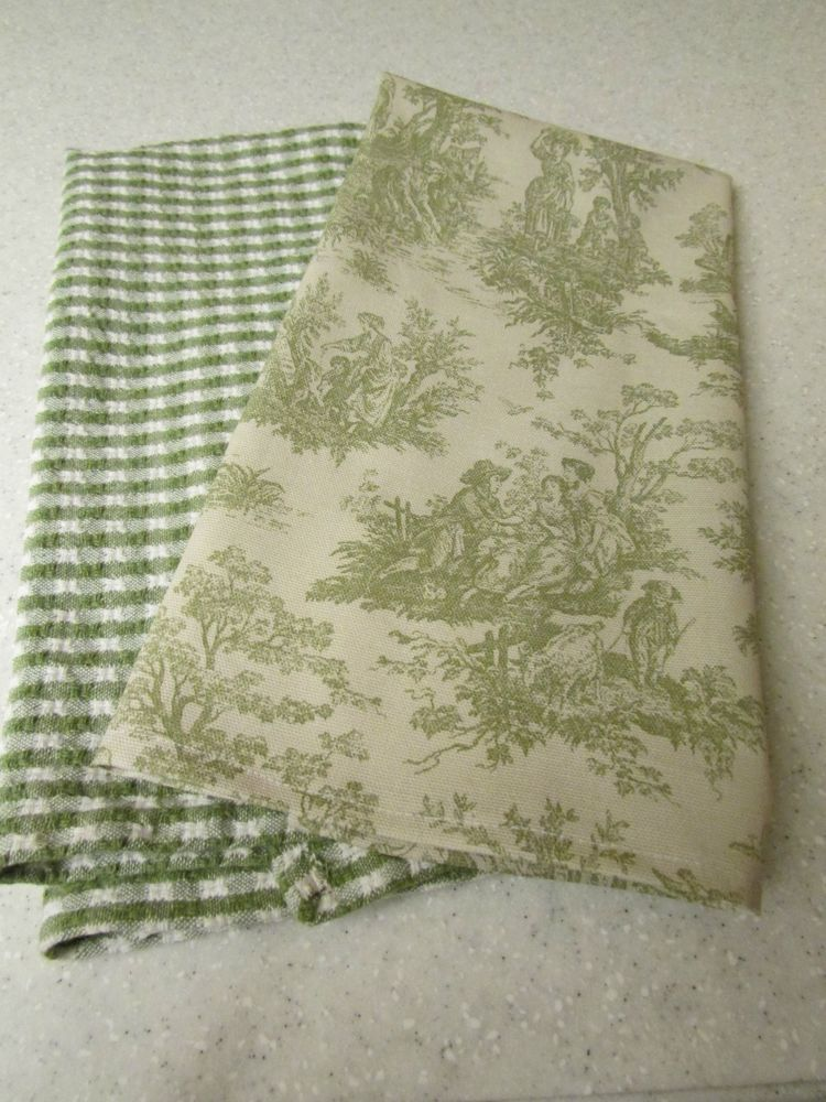 French Country Green Toile With Green Checked Kitchen