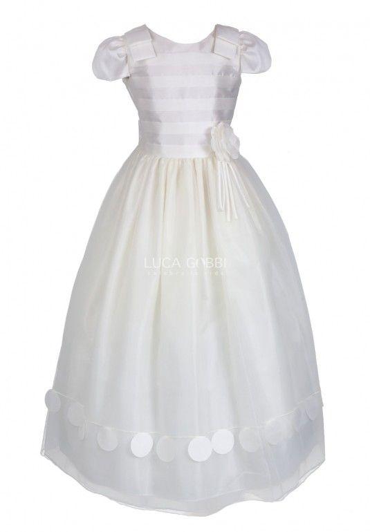 Elegante Vestido De Primera Comunión Para Niña Elaborado En