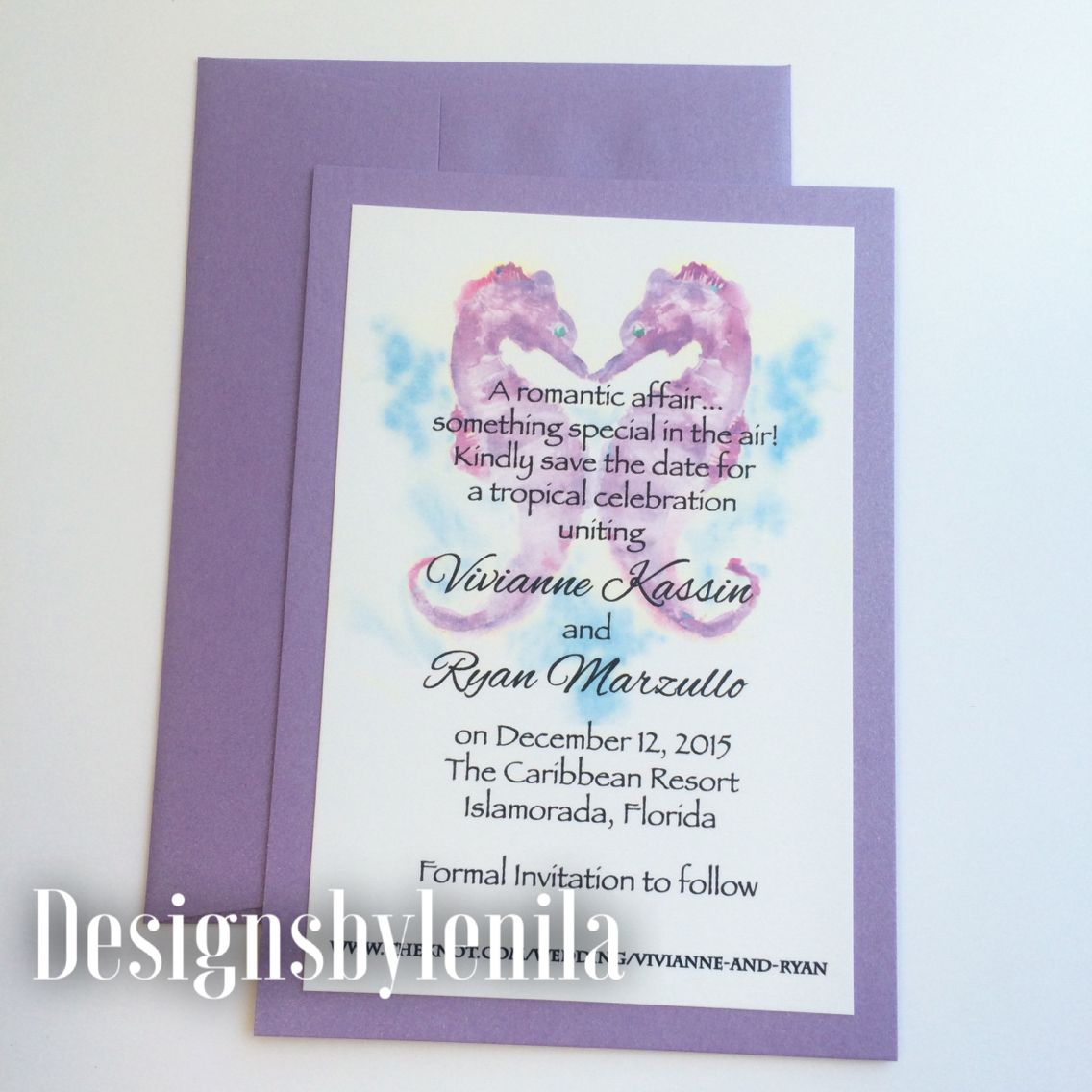 Lavender Seahorse Save The Date card. Www.designsbylenila.com ...