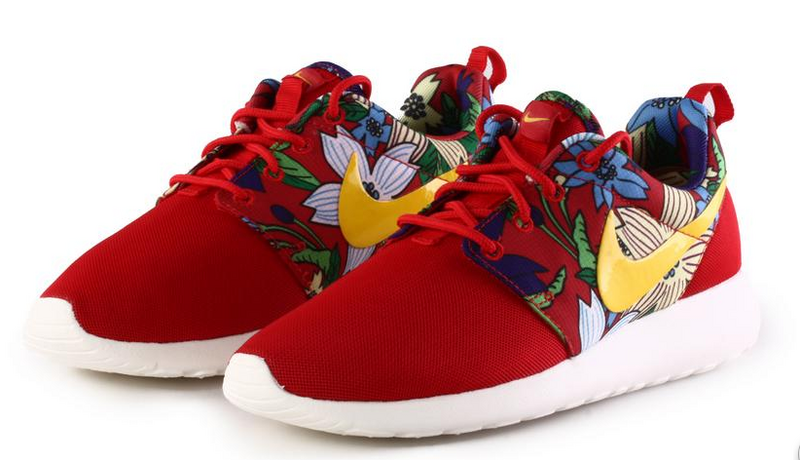 8ad4165621a0 Nike Roshe Run Print Floral Women Shoes Red Blue Green Gold White ...