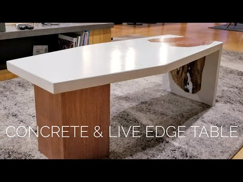 Swell Diy Concrete Coffee Table W Live Edge Inlay How To Make Spiritservingveterans Wood Chair Design Ideas Spiritservingveteransorg