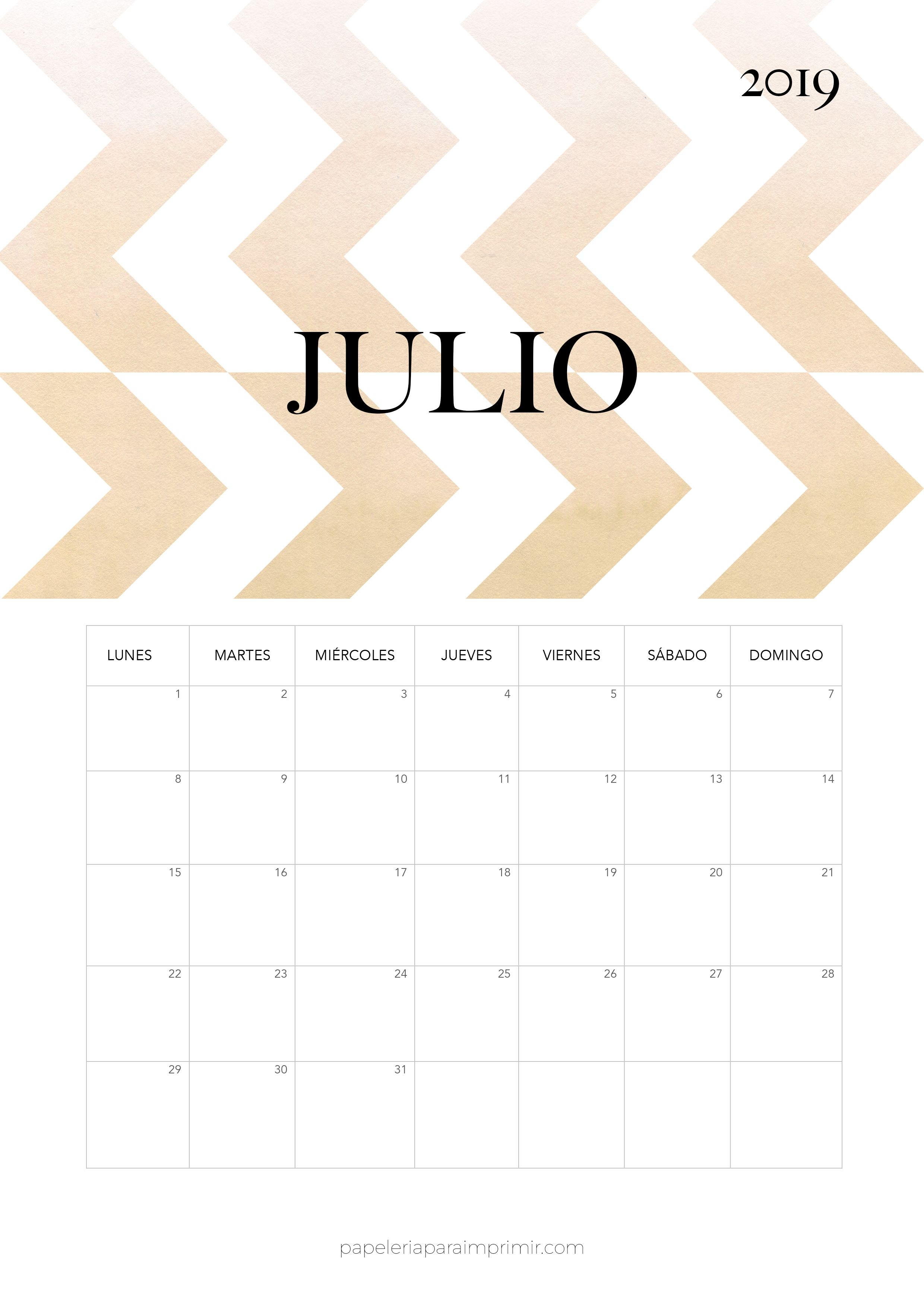 Calendario 2019 Moderno.Calendario 2019 Julio Calendario Mensual Moderno De Estilo