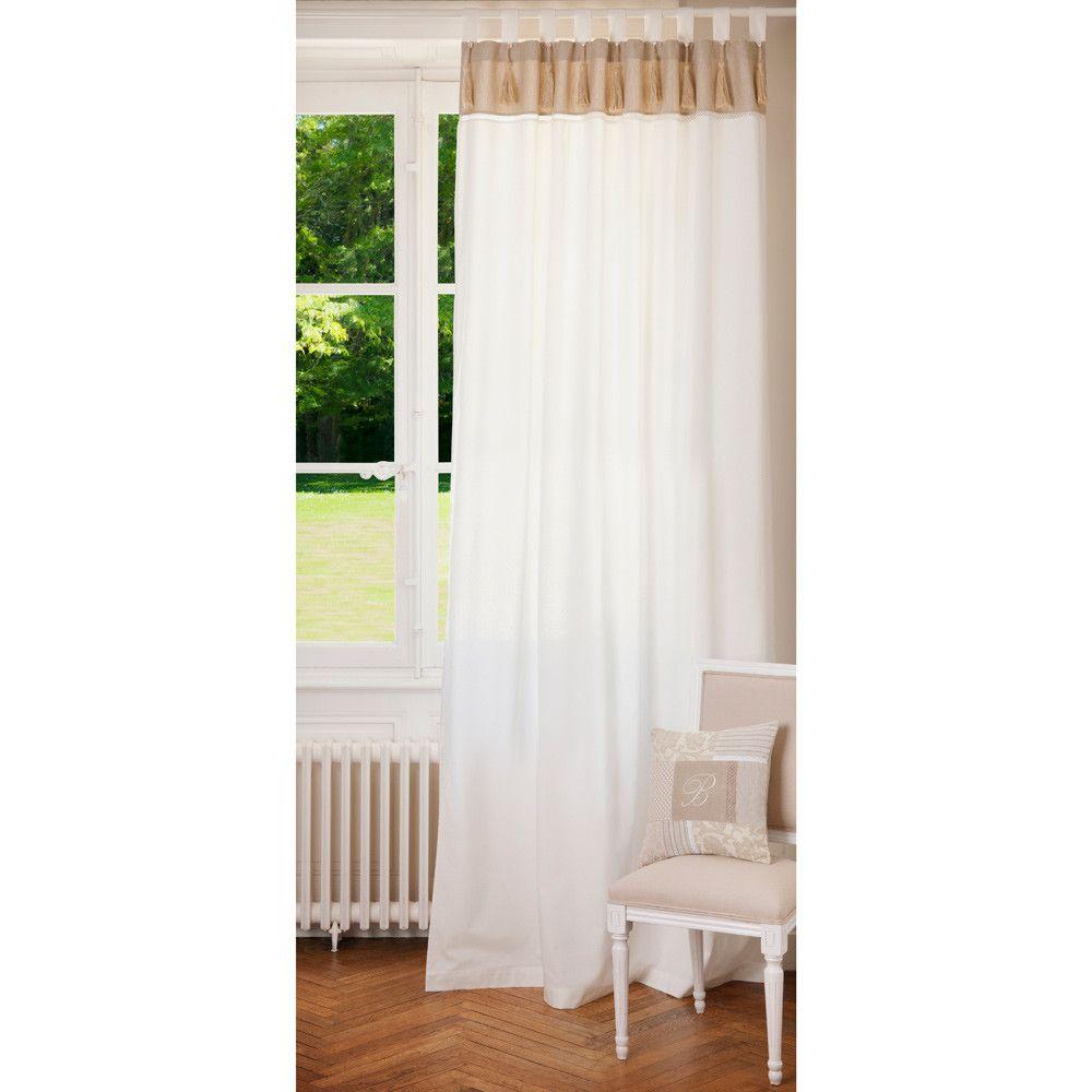 Rideau double à passants en coton blanc et beige 150 x 250 cm