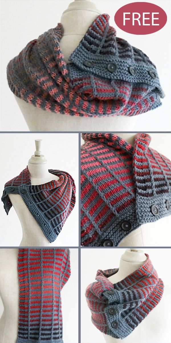 Photo of Free Knitting Pattern for 4 Row Repeat Train Track Neckwarmer