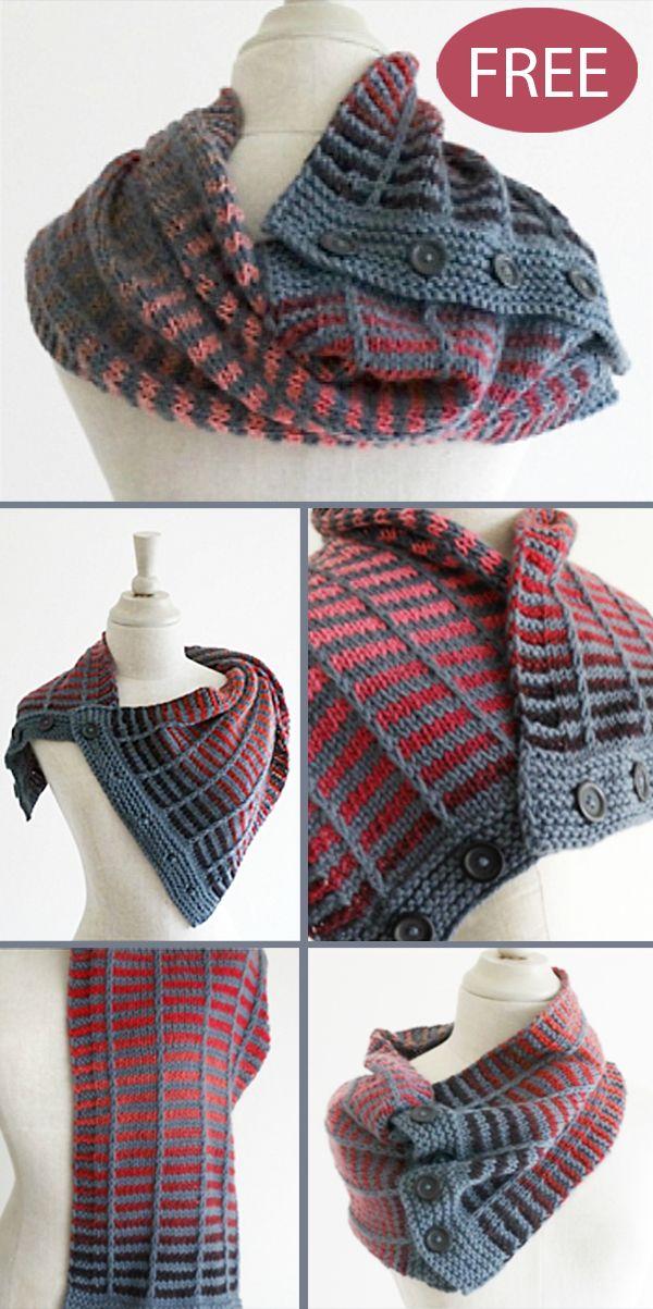 Free Knitting Pattern for 4 Row Repeat Train Track Neckwarmer #freeknittingpatterns