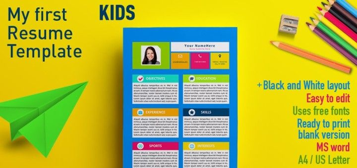 My First Resume - Template for kids in MS Word format Resume - first resume