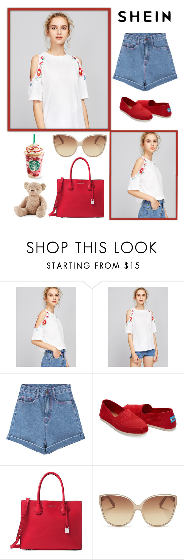 """""""White Shirt"""" by tonia-ro ❤ liked on Polyvore featuring Pink Stitch, TOMS, Michael Kors, Linda Farrow and Jellycat"""
