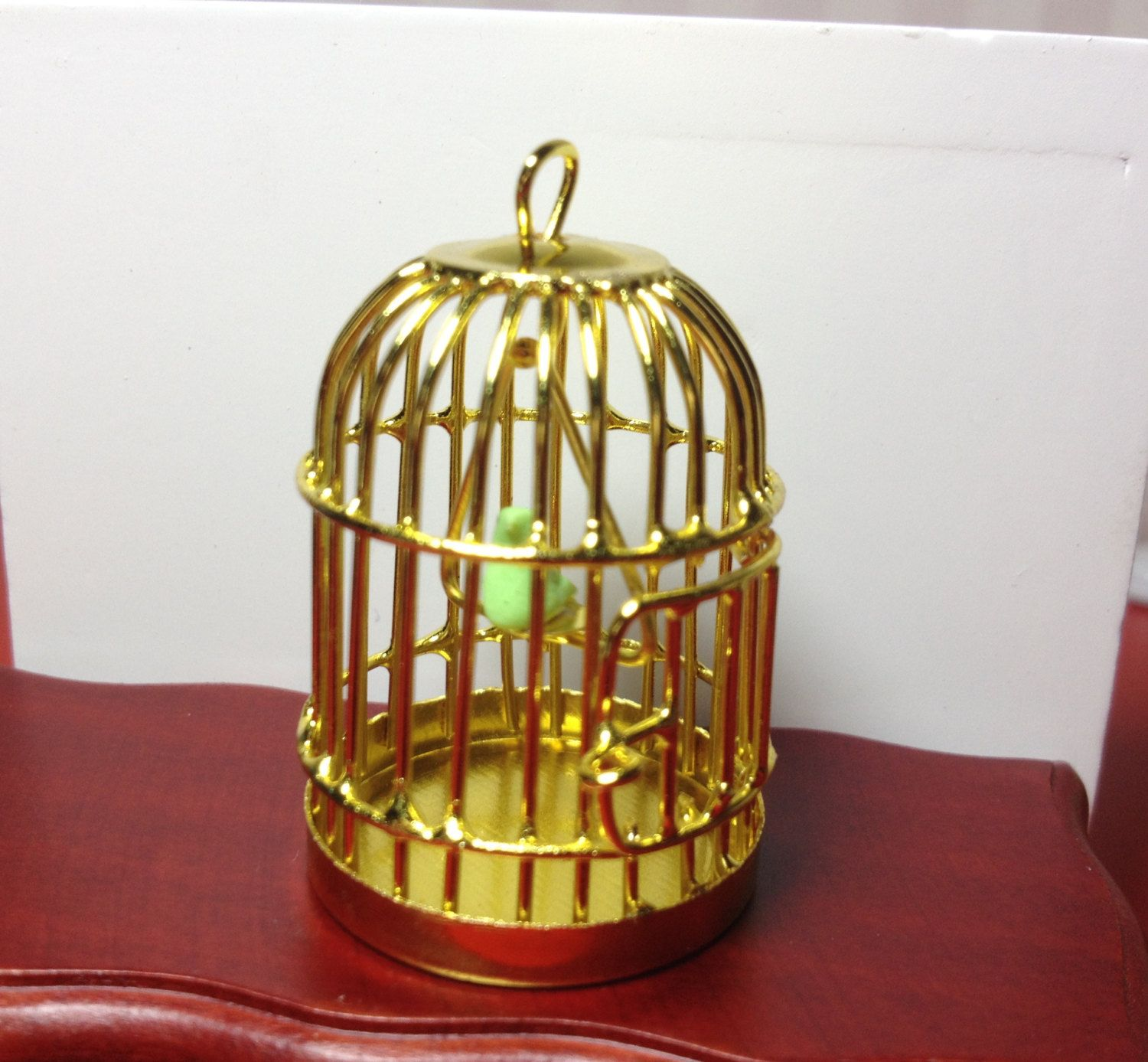 Golden Metal Bird Cage with Bird, 1/12 Scale, Dollhouse