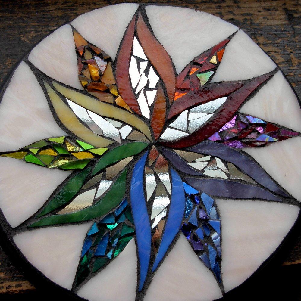RESERVED for Victoria Rainbow Starflower Mandala Mosaic