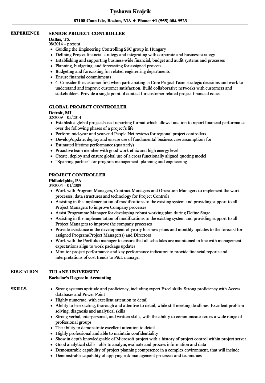 Project Controller Resume Samples Resume, Projects