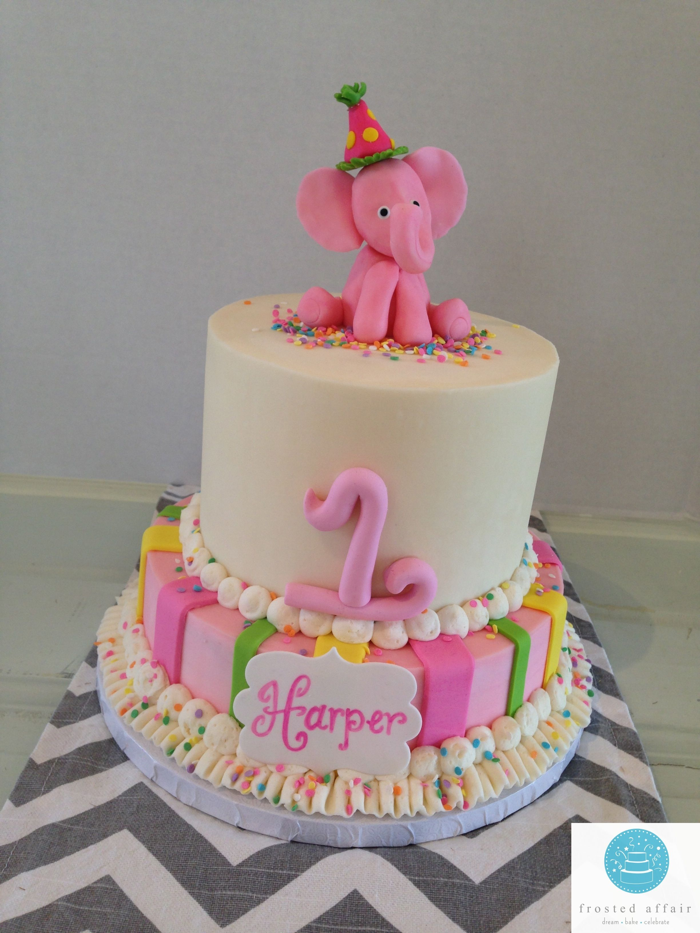 Buttercream Pink Elephant Cake For A First Birthday