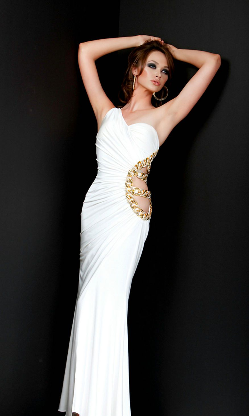 One shoulder v neck floor length elegant ruched fitted white prom
