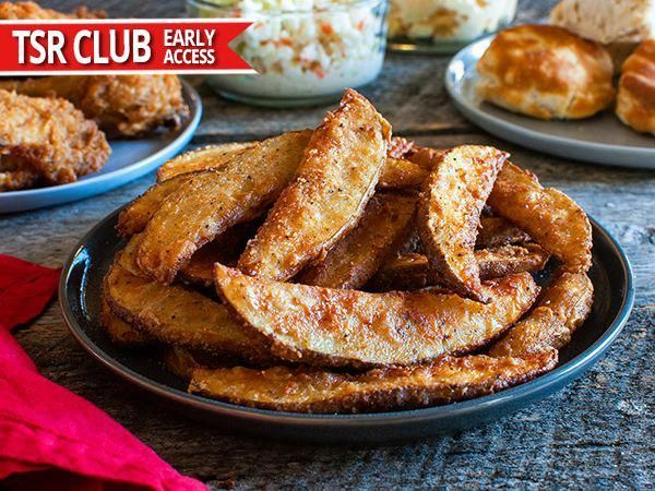"""Don't call them fries,"" says KFC about its popular side made with sliced, skin-on russet potatoes. What sets these potatoes apart from all the others is the secret breading made with a similar seasoning blend as the Original Fried Chicken. Visit Top Secret Recipes online to learn how to recreate this side dish today! #potatorecipes #russetpotatorecipes ""Don't call them fries,"" says KFC about its popular side made with sliced, skin-on russet potatoes. What sets these potatoes apart f #russetpotatorecipes"