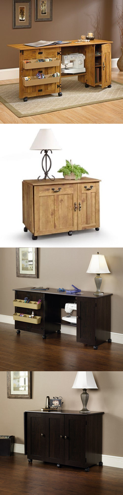 Craft Carts 146400: New Sauder Sewing Machine And Craft Table Drop Leaf  Shelves Storage Bins