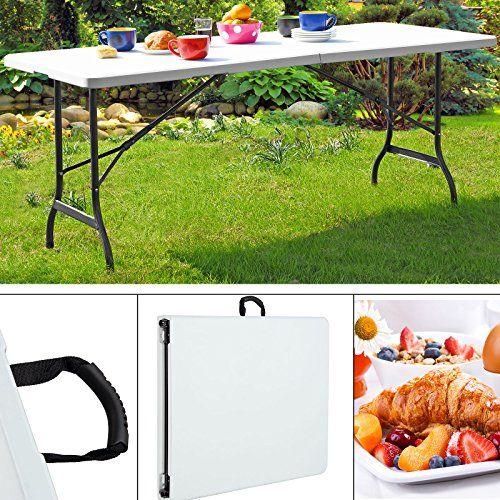Table de camping jardin pliable blanche 182 cm – 240 cm ...