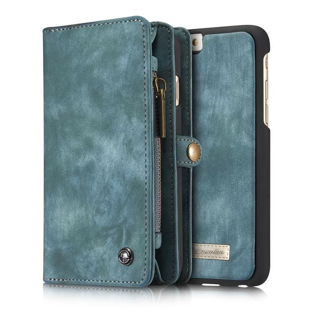 Upscale for iPhone X 6 6S 7 8 Plus Genuine Leather Detachable Zipper  Magnetic Wallet 6de9ba5adbdb0