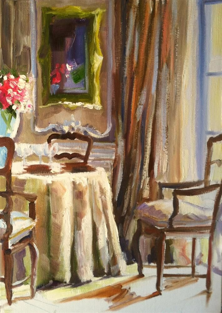Franse Eetkamer Original Fine Art By Cecilia Rosslee Franse Eetkamer Is A Painting Of A French Dining Room In Lovely Muted C Painting Art Original Fine Art