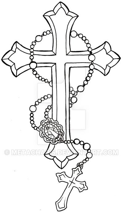 Cross with Rosary Tattoo by Metacharis on DeviantArt