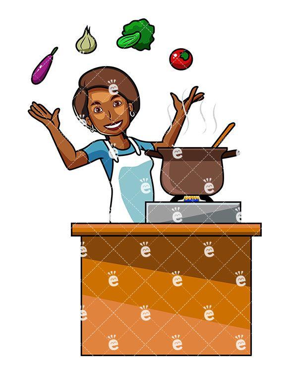 Black Woman Cooking With Vegetables Cartoon Vector Clipart Friendlystock Cooking Clipart Black Women Vegetable Cartoon