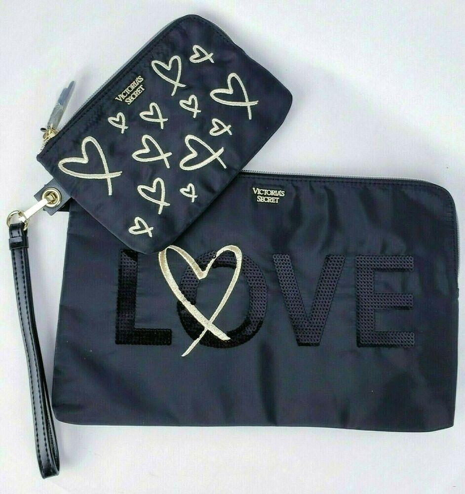 Victoria's Secret Black Gold Heart Love Sequin Black