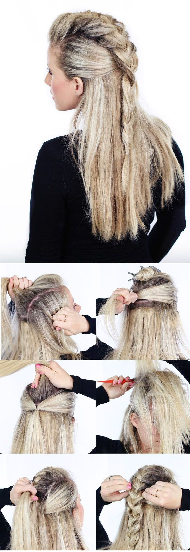 Tresse coiffure pinterest faux hawk tutorials and hair style