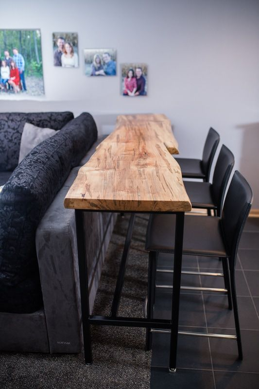 behind the couch table made of ambrosia maple live edge one solid rh pinterest com