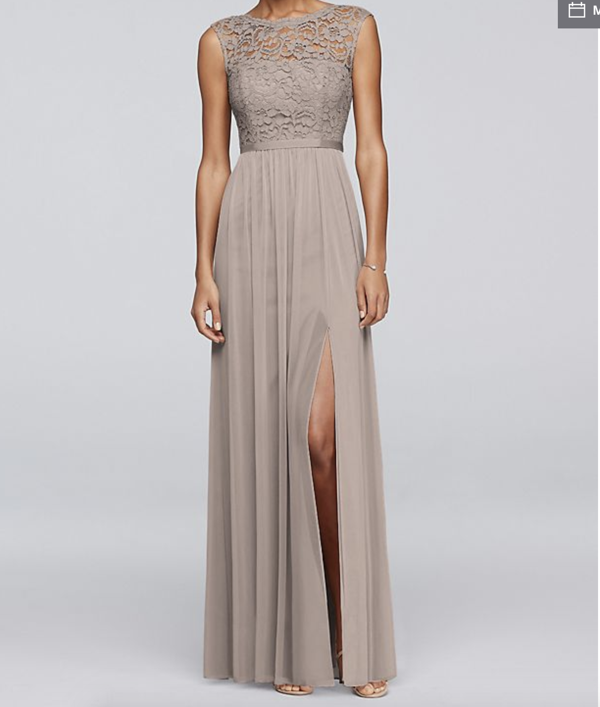 d2ae8e9162a Long Bridesmaid Dress With Lace Bodice Davids Bridal F19328 - Gomes ...