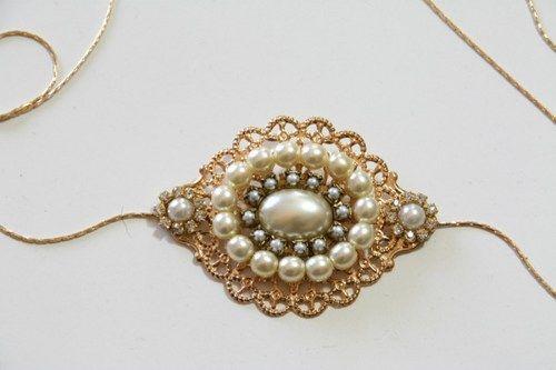 Bridal Wedding Dress Sash Belt, Antique Gold, Ivory Pearls, Victorian