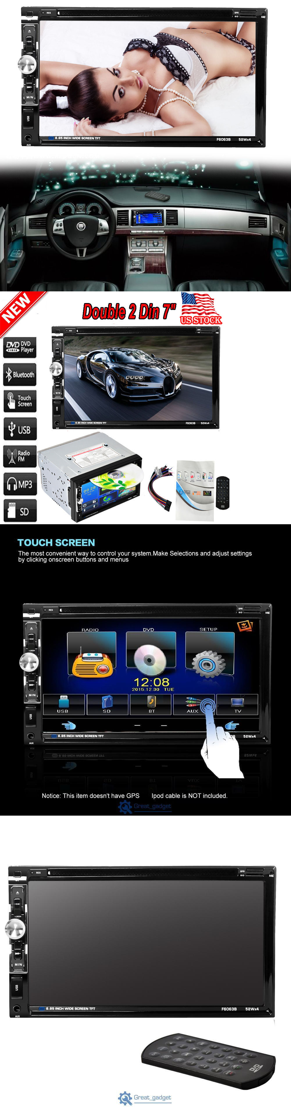 Other car audio double 2din 7 stereo car dvd player bluetooth radio sd usb gps