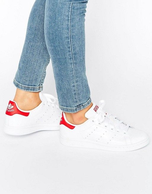 adidas originals unisex white and red stan smith sneakers