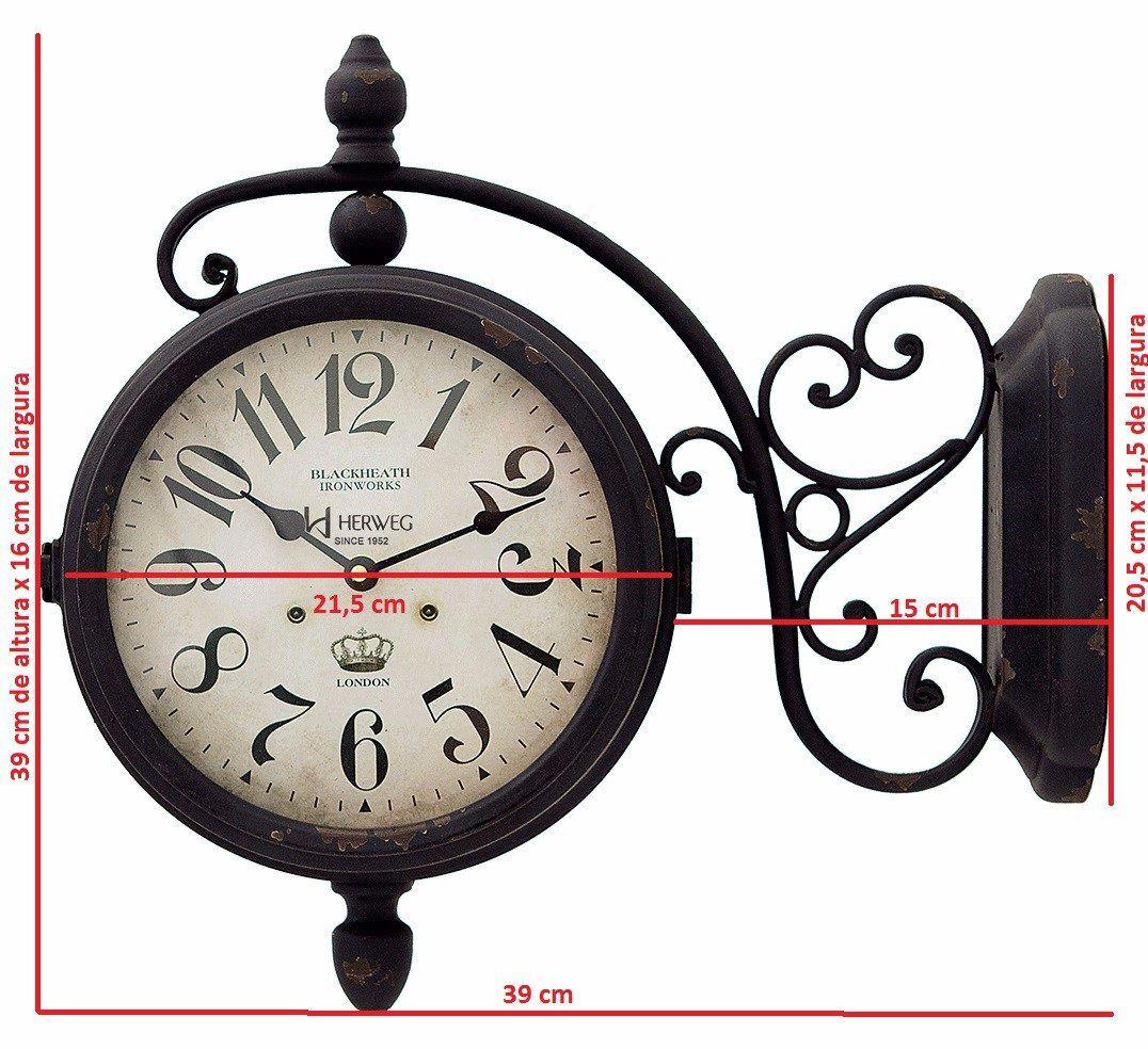 6425 Relógio Parede Retrô 2 Duas Dupla Face Estação Herweg R 239 40 Relógios De Parede Vintage Relogios Parede