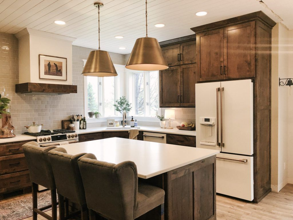 Dark Wood Cabinets With White Appliance In 2020 Dark Wood Kitchen Cabinets White Kitchen Appliances Kitchen Renovation